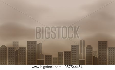 Atmosphere Pollution And Building Landscape Sky, Contamination Air, Smoke Dust Pollution For Backgro