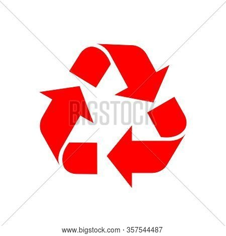 Recycle Symbol Red Isolated On White Background, Red Ecology Icon Sign, Red Arrow Shape For Recycle
