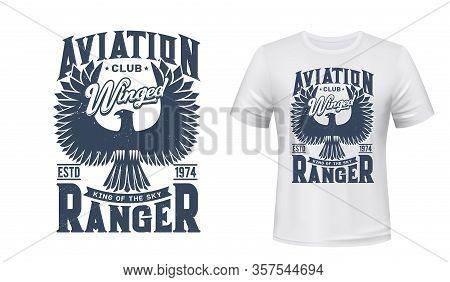 Eagle Bird Vector Mockup Of Aviation Club T-shirt Print Design. Black Eagle, Hawk Or Falcon With Rai
