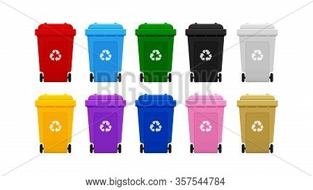 Bin Plastic Collection, Colorful Recycle Bin Isolated On White Background, Bins With Recycle Waste S