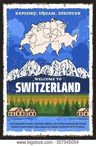 Switzerland Travel And Tourism Vector Design With Map Of Swiss Confederation, Alpine Mountains And L