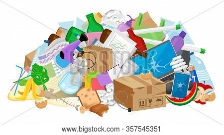 Pile Garbage Waste Plastic Many Isolated White, Stack Garbage Plastic And Paper Many Dump, Different