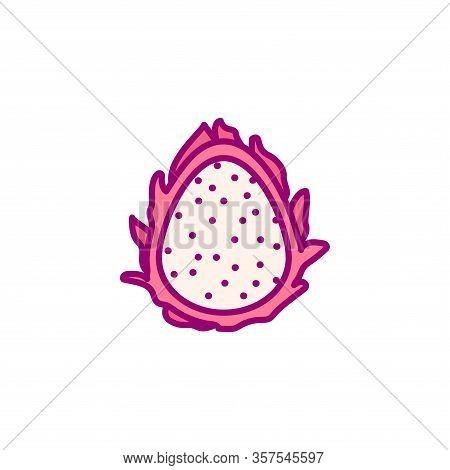 Vector Hand Drawn Cute Fruit Clip Art. Dragonfruit
