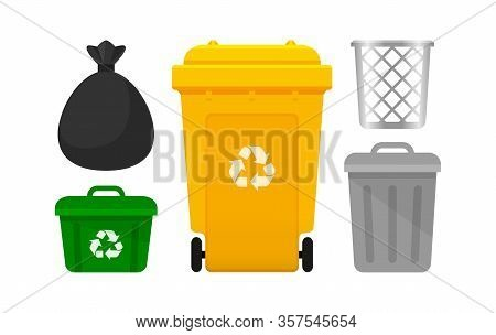 Bin Collection, Yellow Recycle Bin And Plastic Bags Waste Isolated On White Background, Bins With Re