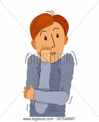 Scared Young Man Feeling Uncomfortable Vector Illustration, Phobia Paranoia Anxiety Or Other Psychic