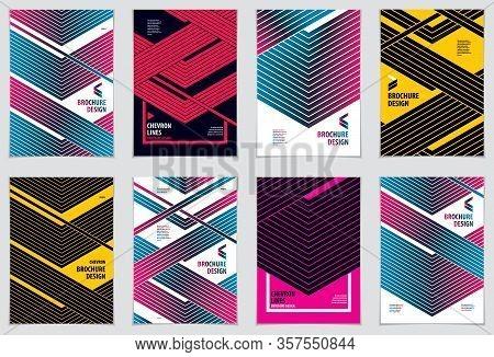 Brochure Design Templates Minimal Design. Modern Geometric Abstract Patterns Vector Backgrounds Set.