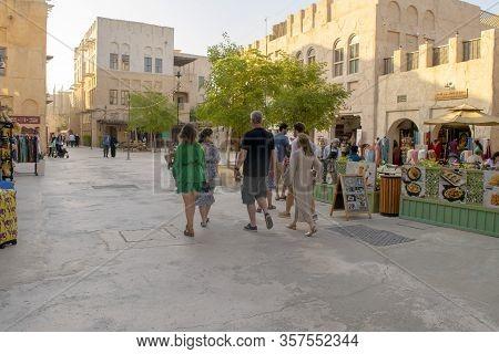 Dubai / Uae - February 21, 2020: Al Seef Village At Bur Dubai. Al Seef Heritage Area With Group Of T