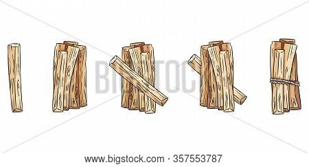 Set Of Wood Sticks Bundles. Collection Of Palo Santo Sticks From Latin America. Vector Images Isolat