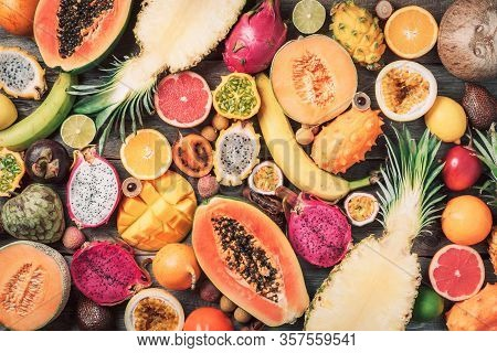 Exotic Fruits - Pineapple, Papaya, Mango, Annona, Banana, Pitahaya, Kiwano, African Horned Melon, Ta