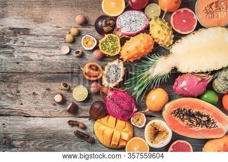 Exotic Fruits - Pineapple, Papaya, Mango, Annona, Banana, Pitahaya, Kiwano, African Horned Melon, Ta
