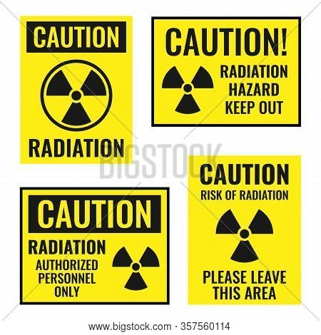 Radiation Danger Sign Set, Radioactive Hazard Icons