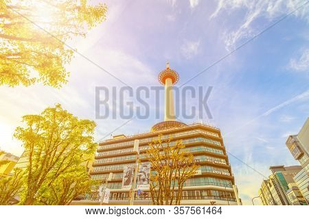 Kyoto, Japan - April 27, 2017: Kyoto Tower Hotel Building With Observation Deck Over The Top And The