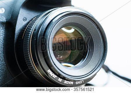Digital Camera Photography Dslr. Professional Equipment. Dirty Lens