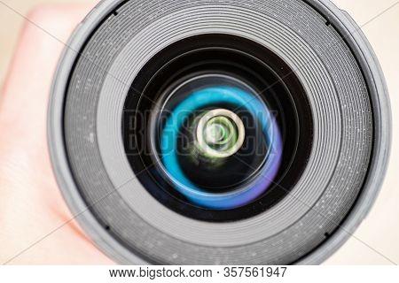 Digital Camera Photography Dslr. Professional Equipment. Ring Light Reflection On Lens