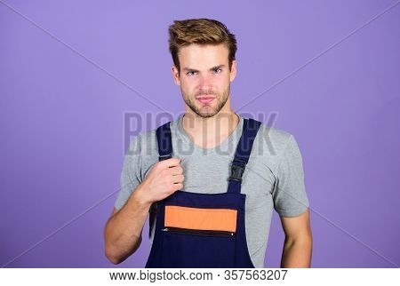 Man Working In Repair Shop. Man Builder In Work Clothes. Man Build House. Skilled Architect Repair.