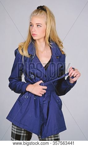 Woman Makeup Face Blonde Hair Posing Coat With Collar. Clothes And Accessory. Girl Fashion Model Wea