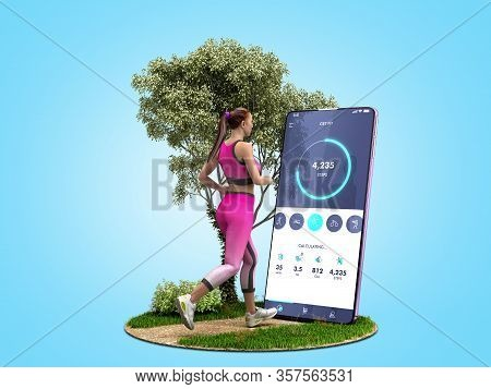 Fitness App Concept Girl Runs On Nature Looking Into The Phone Screen 3d Render On Blue Gradient