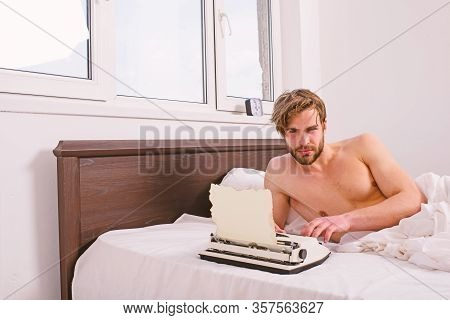 Writer Author Used To Old Fashioned Machine Instead Of Digital Gadget. Man Writer Lay On Bed White B
