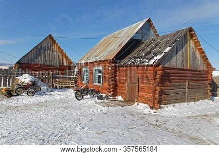 Khatgal, Mongolia, February 25, 2020 : Houses Of Khatgal. The Small Town Is Known As One Of The Cold