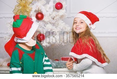 Merry Christmas. Family Holiday Tradition. Children Cheerful Celebrate Christmas. Siblings Ready Cel