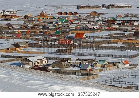 Khatgal, Mongolia, February 26, 2020 : Top View Of Khatgal. The Small Town Is Known As One Of The Co