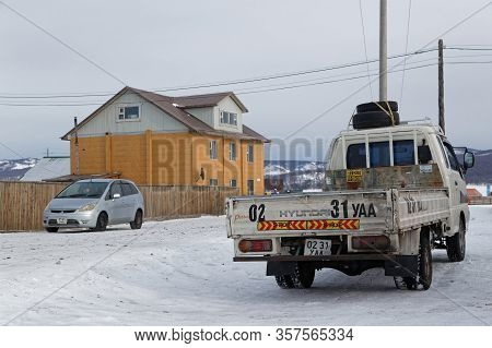 Khatgal, Mongolia, February 28, 2020 : Khatgal Streets In Winter. The Small Town Is Known As One Of