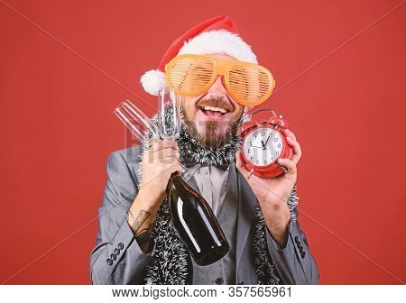 Man Bearded Hipster Santa Hold Bottle. Corporate Christmas Party. Lets Celebrate Winter Holiday. Bos