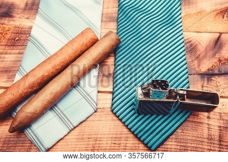 Necktie For Real Men. Modern Formal Style. Male Tie And Cigar. Male Shop. Vintage. Retro Style. Ciga