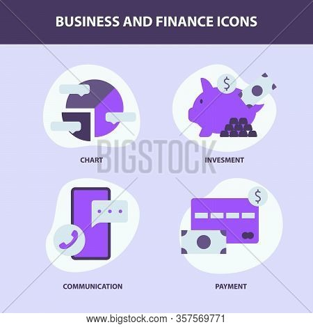 Business Icon Set Collection For Pie Chart Piggybank Smartphone And Credit Card With Vivid Purple St