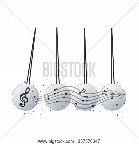 Pendulum Icon, Newtons Cradle With Note. Music Concept. Stock Vector Illustration Isolated On White