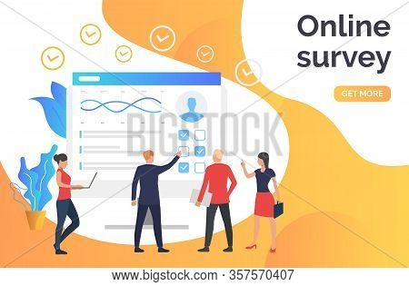 People Answering Online Survey. Computer, Poll, Online Test. Online Survey Concept. Illustration Can