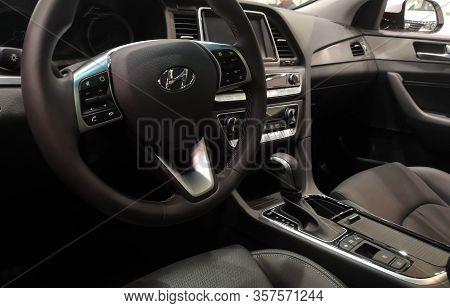 Interior Of The Cabin Of The Family Car Hyundai Sonata In The Car Sales Show Hyundai February 05, 20