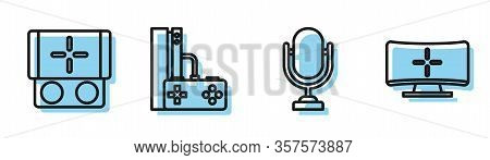 Set Line Microphone, Portable Video Game Console, Game Console With Joystick And Computer Monitor Ic