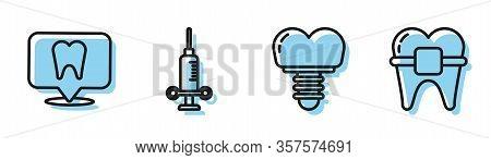 Set Line Dental Implant, Dental Clinic Location, Dental Medical Syringe And Teeth With Braces Icon.