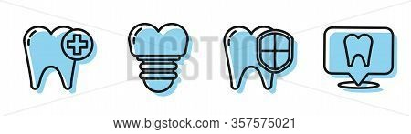Set Line Dental Protection, Tooth, Dental Implant And Dental Clinic Location Icon. Vector