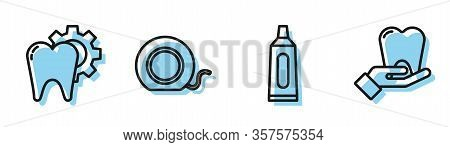 Set Line Tube Of Toothpaste, Tooth Treatment Procedure, Dental Floss And Tooth Icon. Vector