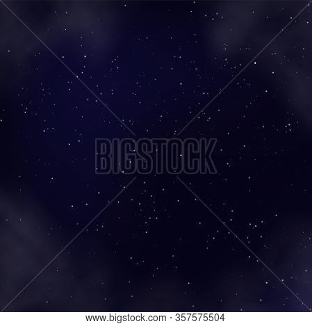 Night Sky With Glowing Shining Stars, Stardust And Nebula Realistic Backdrop. Space Galaxy Backgroun