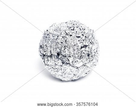 Tinfoil Ball, Isolated On White Background. Isolated Object Of Aluminum Foil Or Silver Paper.