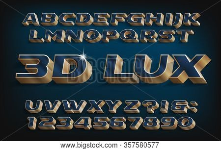 3d Lux Alphabet Font. Blue And Golden Letters And Numbers. Stock Vector Typescript For Your Typograp