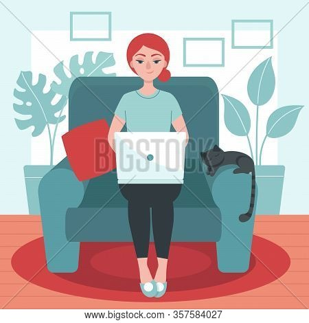 Young Woman With Laptop Sitting On A Chair. Concept Of Freelance, Telework, Distance Job, Temporary