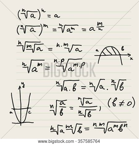 Vector Background With Mathematical Formulas, Calculations, Graphs, Proof And Scientific Research In