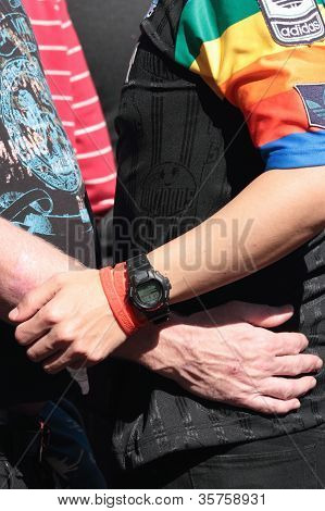 Brisbane, Qld Australia - August 11 : Unidentified Men Holding Each Other On August 11 2012  In Bris