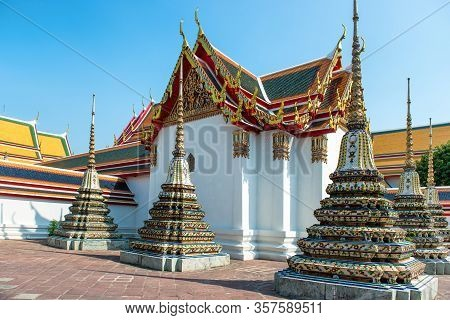 Chedi Of Temple Of Reclining Buddha Or Wat Pho Complex. Bangkok, Thailand
