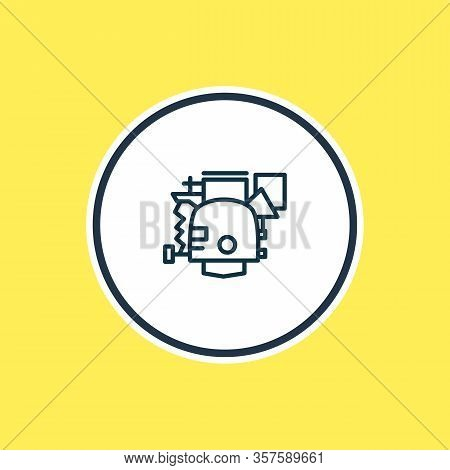 Vector Illustration Of Carburetor Icon Line. Beautiful Auto Parts Element Also Can Be Used As Power