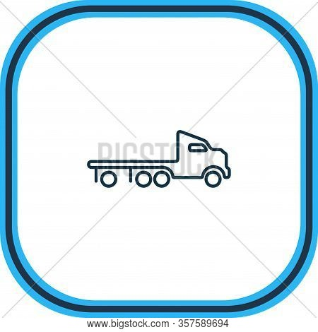 Vector Illustration Of Flatbed Truck Icon Line. Beautiful Transport Element Also Can Be Used As Wrec