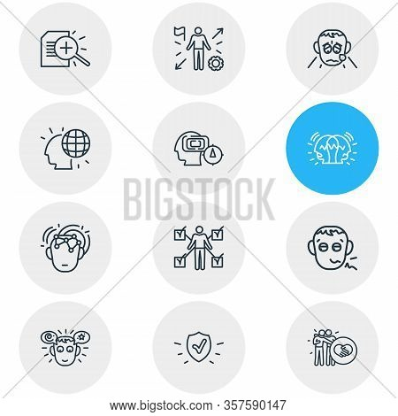 Illustration Of 12 Emotions Icons Line Style. Editable Set Of Mind Map, Pathetic, Protection And Oth