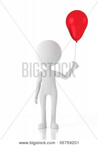 3D Person Child Holding A Red Balloon