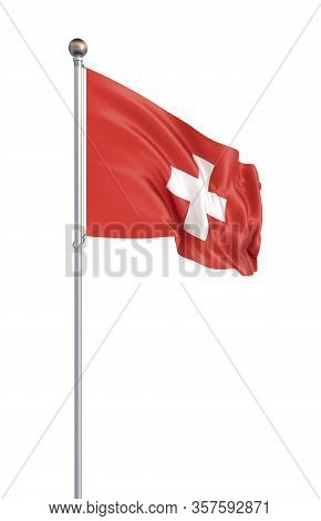 Switzerland Flag Blowing In The Wind. Background Texture. 3d Rendering, Wave. - Illustration. Isolat