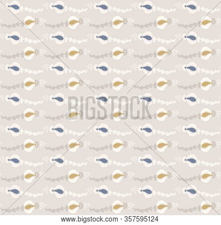 French Blu Shabby Chic Floral Stripe Vector Texture Background. Antique White Cream Seamless Pattern