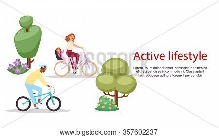 Active Lifestyle People Riding On Bicycle Vector Illustration. Bycyclists Mother With Child And Man